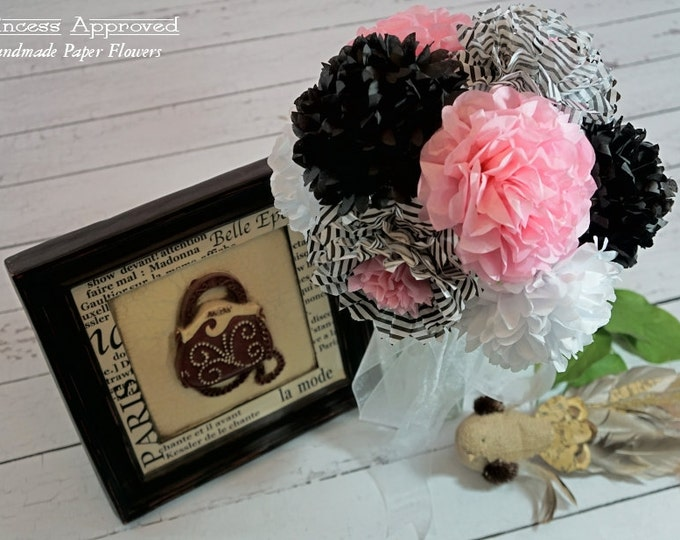 Paris Theme Handmade Paper Flowers