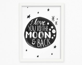 To the moon and back inspirational quote printable wall art