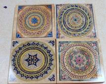 Moroccan Tile coasters -Travertine Coasters - Stone Coasters - Decorative tile coasters - set of 4 - Marble coasters - Decorative coasters