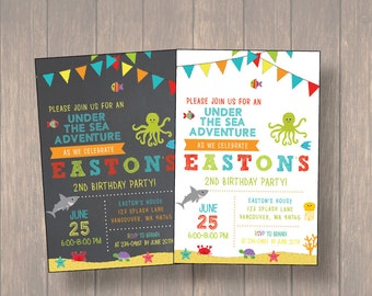 Under The Sea Birthday Invitation, Under The Sea Birthday Party, Boy Birthday Invitation, Birthday Party, matching thank you