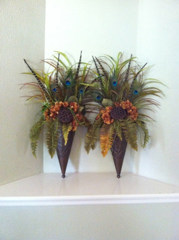 Pair of large wall sconces wall pockets floral wall decor for Picture arrangements for large walls