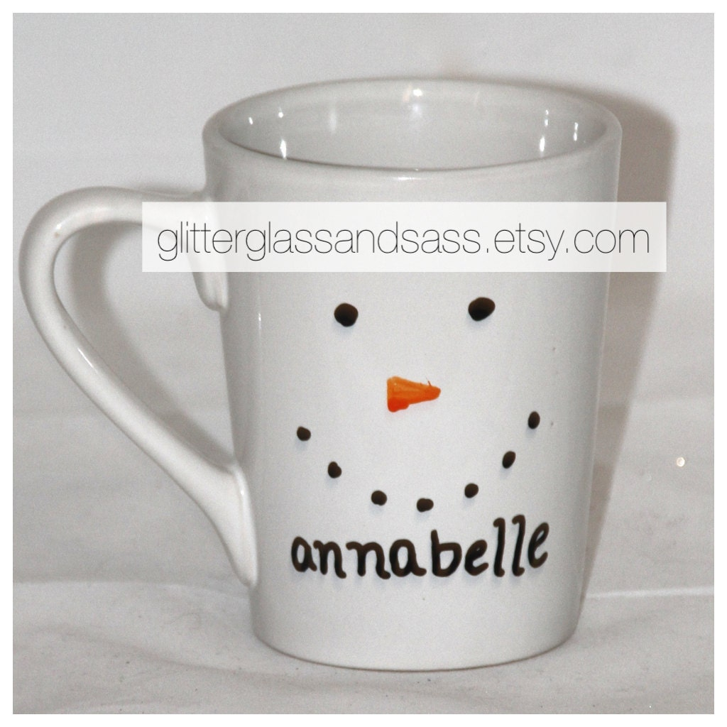 Personalized snowman mug christmas gift by glitterglassandsass for Unique christmas mugs