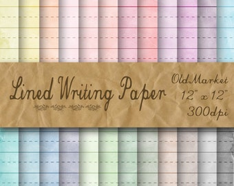 Lined Writing Paper Digital Paper - Large Lined Paper -  24 Colors - 12in x 12in - Commercial Use -  INSTANT DOWNLOAD