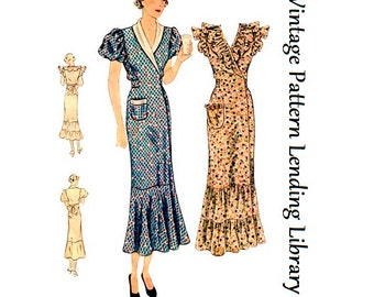 1930s Ladies Hooverette Day Dress - Reproduction Sewing Pattern #T1889