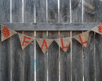 Fall Burlap Banner/Bunting with Leaves