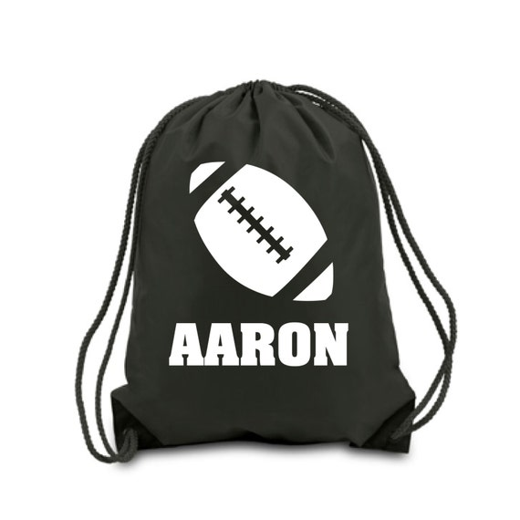 Personalized Football Drawstring Bag Black Sports Drawstring