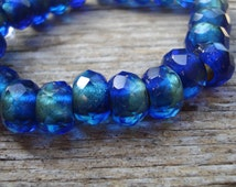 8x12mm Mediterranean blue lined roller beads, Czech glass large hole rondelle, 8 beads