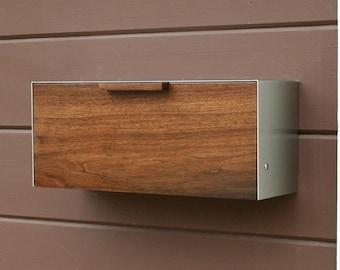 Modern Mailbox,  Walnut and Stainless Steel Mailbox