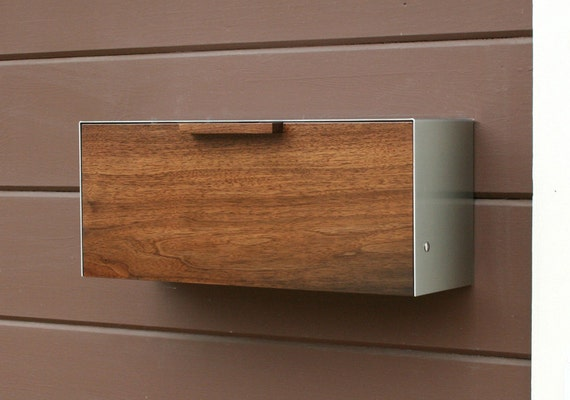 Modern Mailbox,  Walnut and Stainless Steel Mailbox