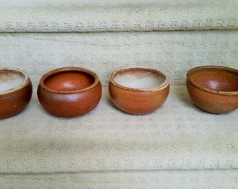 Four Vintage Hand Made Scandinavian Style Pottery Bowls - Cereal, Salad, Serving, Appetizers, Rice - Signed by Artist  - Holds 1.5 Cups