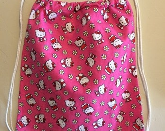 Hello Kitty pink Drawstring Backpack