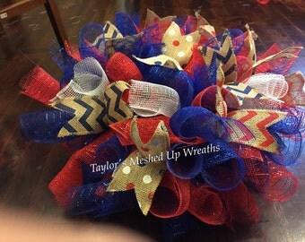 Fourth of July patriotic mailbox topper // gravestone saddle