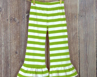 Green Striped Cotton Knit Ruffle Pants