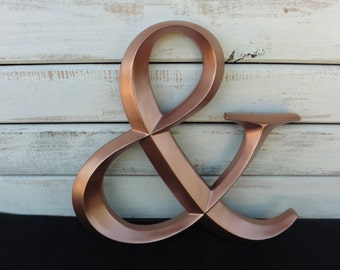 Hand Painted Large Copper AMPERSAND ~ Wedding Sign ~ AND Symbol ~ Wall Letter ~ Photo Booth Prop Home Decor  Frame