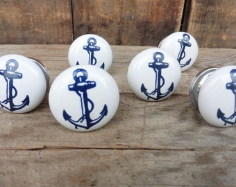 Blue and White Nautical Anchor Ceramic Knob / Drawer Pull ~ Home Decor ~ Drawer Cabinet
