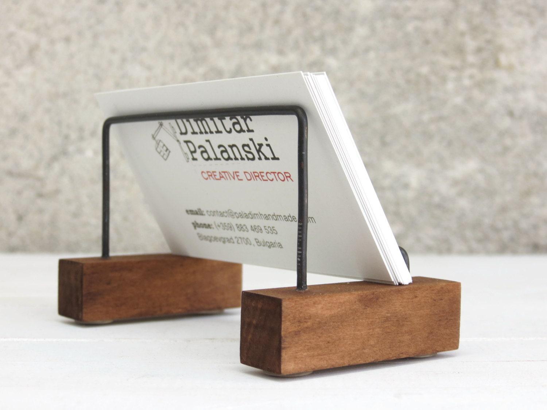 Business card stand desk decor desk card holder business for Business cards holder for desk