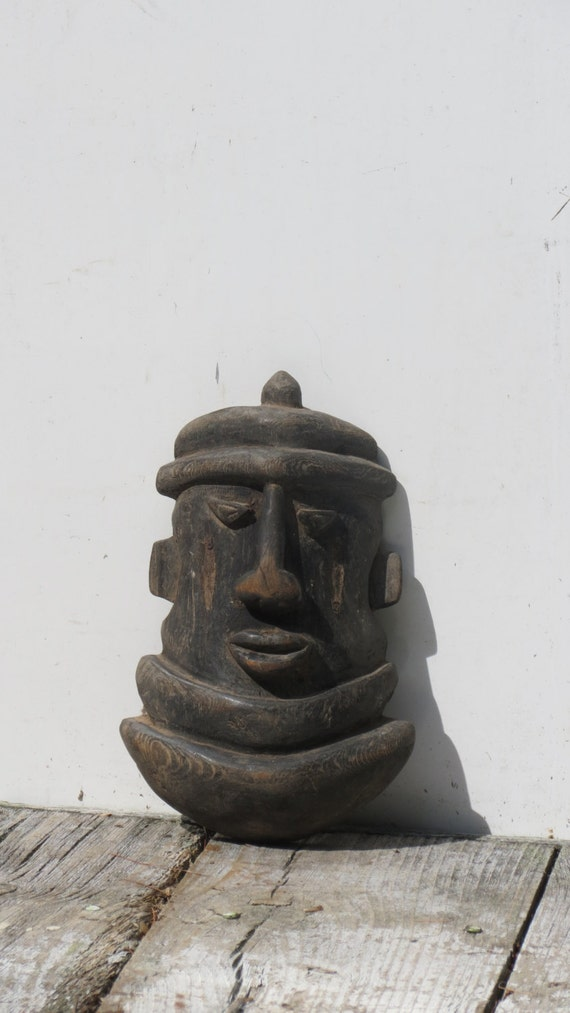 Authentic african carved wooden face mask