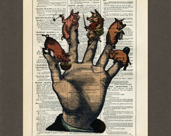 Five Little Piggies, Pigs, Hand, Dictionary Art Print, Upcycled Dictionary Page, Old Book Art, Decorative Wall Art,