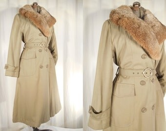 Vintage 1970s Coat - Amazing 70s Large Belted Fur Collar Trench Coat