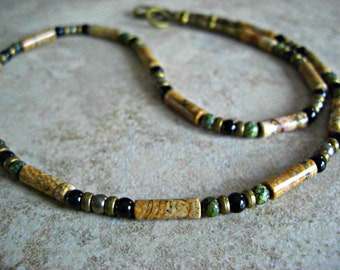 Picture Jasper, Russian Serpentine, Pyrite, Black Onyx, Brass Accents Men's Necklace, Men's Jewelry
