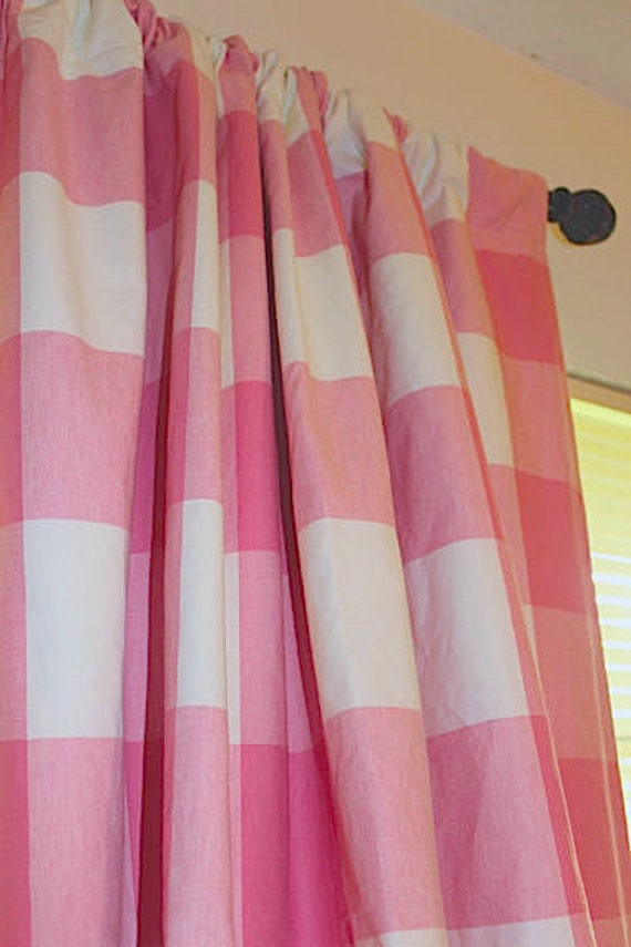 Buffalo Check Curtains In Pink And White By Bellashomedecor