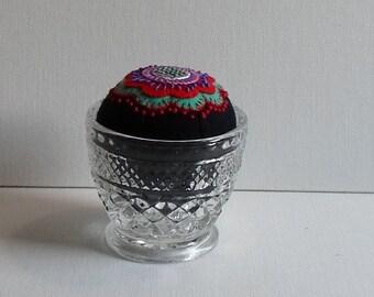 Handmade Pincushion Felted Wool Bright Boho Blossom