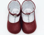 "Cabernet leather ankle-strap shoes for 16"" Sasha dolls"