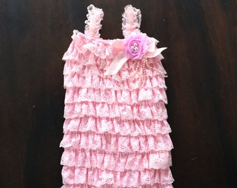 Birthday Romper, Lace Baby Romper, Pink Romper, Handmade Romper, Romper for Babies, Lace Romper