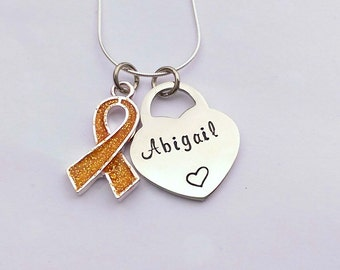 Personalised gold awareness ribbon necklace - childhood cancer awareness ribbon necklace