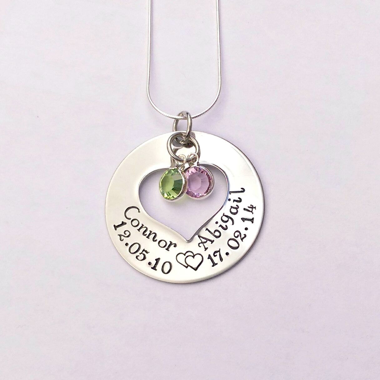 Personalised name necklace - personalized mom necklace - mum jewellery - birthstone jewellery - personalised gift for mum - gift for her