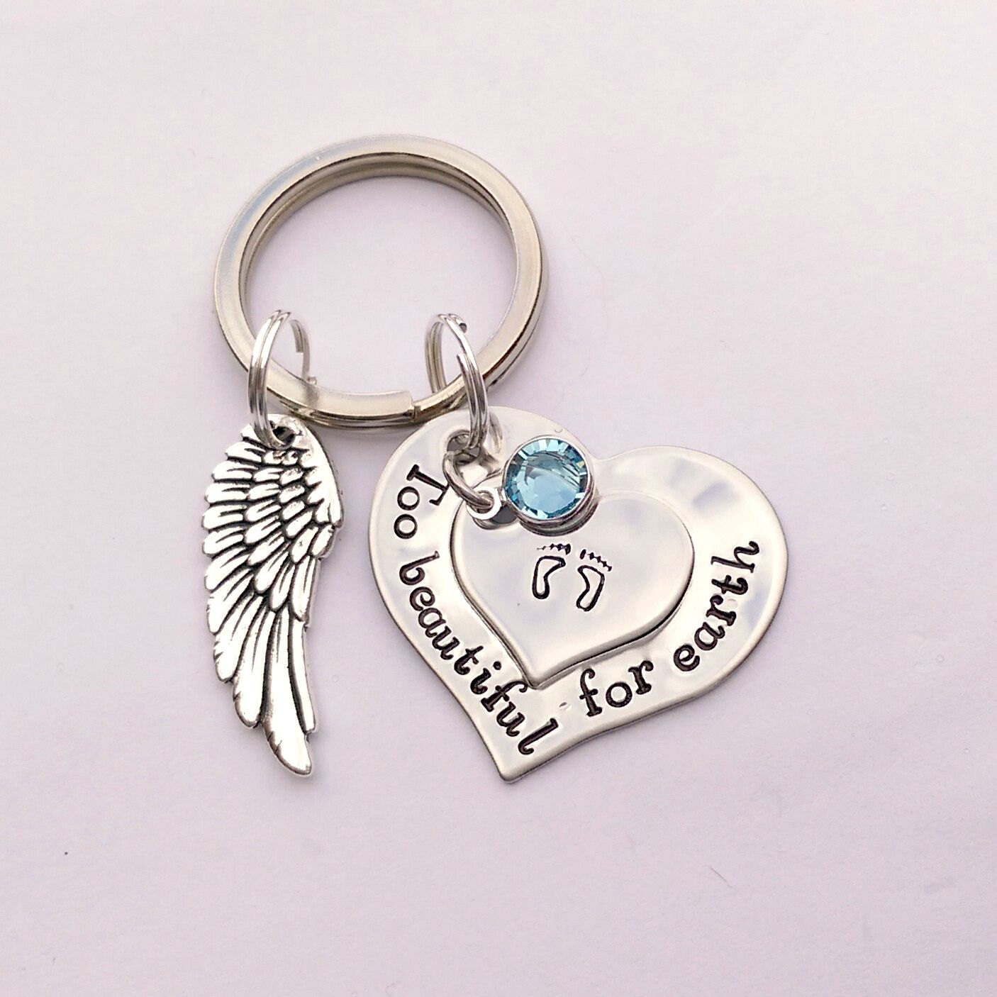 Personalised Too beautiful for earth keyring - personalized memorial keychain - remembrance  - bereavement gifts presents - memorial keyring