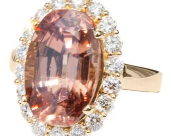 11 ct Tanzanian Peach Zircon & Diamond 18K Designer Ring