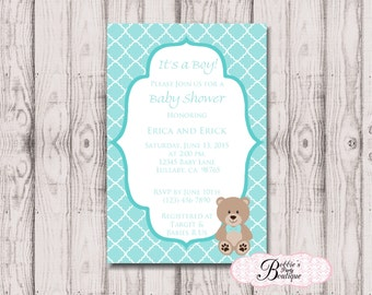 Bear Theme Baby Shower Invitation, Bear Baby Shower Invitation, Digital Download