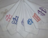 Made To Order 12 Custom Hemstitched DINNER NAPKINS  Monogrammed 60 percent linen/40 percent soft cotton.