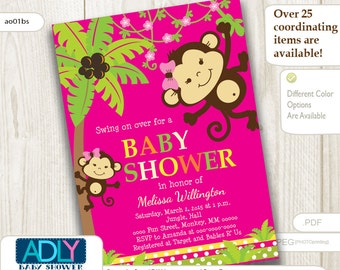 Hot Pink, Green Girl Monkeys Baby Shower Invitation Printable. Brown monkeys, Swing on over,lime green, safari, yellow - ao109bs