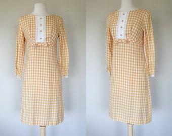 1960s gingham dress, yellow long sleeve shift dress, summer sun dress, cotton dress, small