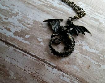 Handmade Antique Brass Dragon Necklace