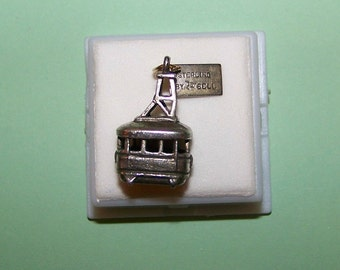 Vintage Sterling BELL Trading Company-- Squaw Valley California-- Aerial Tram Charm--Chunky 6.6 Grams