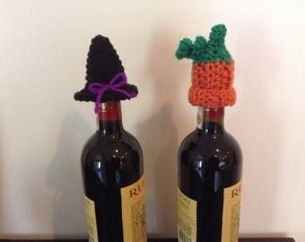 Crochet wine bottle topper 2 pack Halloween / fall theme