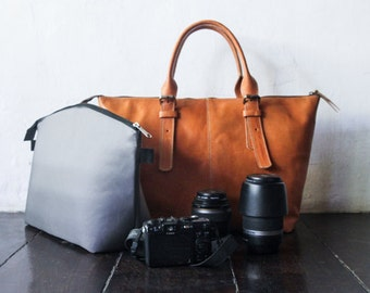 Dslr Camera Bag with Insert - genuine Leather shoulder bag - tote bag - Leather with canvas lining - Tanned
