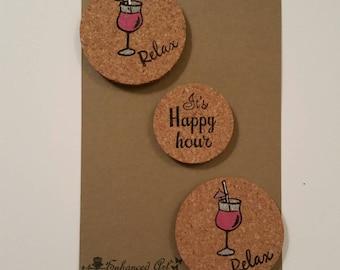 Cork Magnets: Set of 3/daiquiri  Magnets/Fridge Magnets/Happy Hour magnets/Cork Magnets
