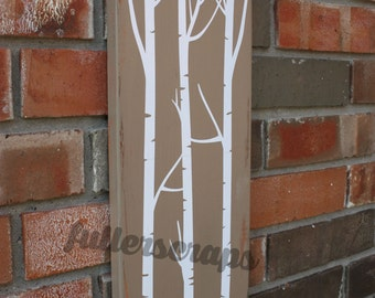 wooden 'birch trees' sign