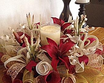 Burgundy Lily Centerpiece/Burgundy, Moss, Burlap and Cream Lily Deco Mesh Centerpiece/Burgundy Lily Arrangement/Fall Centerpiece Arrangement