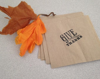 Buffet luncheon napkins Give Thanks tailgates, buffets, hand stamped kraft brown paper napkins eco environmentally friendly
