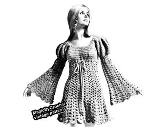 Vintage Juliet Dress Pattern, Crochet Pattern,PDF,  Boho Dress, Hippie Dress