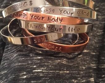 Custom handstamped cuff bracelet choice of metals