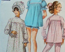 "Retro 1960s Lingerie Sewing Pattern Simplicity no 7841 Size 14 Bust 36"" Vintage Sleepwear Baby Doll Pajamas Nightgown Nightwear"