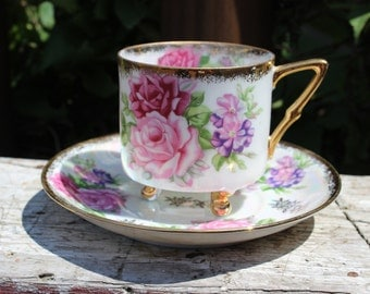 Vintage Royal Halsey bone china tea cup and saucer, pink and purple floral / flower lustreware cup saucer w/ gold rim, antique china cup set