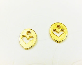 2pc 18k gold plated 925 sterling silver heart charm, vermeil heart charm, pendant , shiny gold