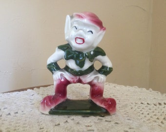 Vintage Cute Little Elf  Pixie- Red Green 1950's Ceramic